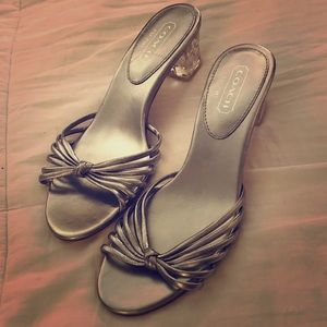 NEVER WORN!! COACH Olay Silver Monogram Sandals